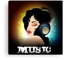 Beautiful woman listening to music with headphones  Canvas Print