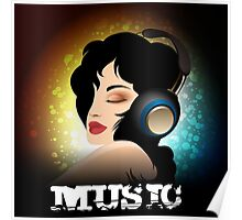 Beautiful woman listening to music with headphones  Poster