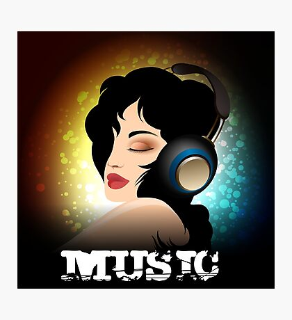 Beautiful woman listening to music with headphones  Photographic Print