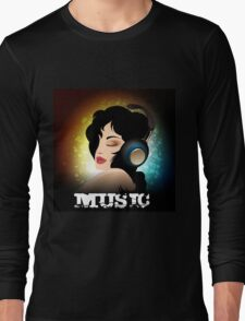 Beautiful woman listening to music with headphones  Long Sleeve T-Shirt