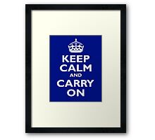 KEEP CALM, Keep Calm & Carry On, Be British! White on Royal Blue Framed Print