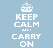 KEEP CALM, Keep Calm & Carry On, Be British! White on Royal Blue One Piece - Short Sleeve