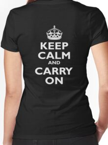 KEEP CALM, Keep Calm & Carry On, Be British! White on Royal Blue Women's Fitted V-Neck T-Shirt