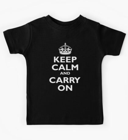KEEP CALM, Keep Calm & Carry On, Be British! White on Royal Blue Kids Tee