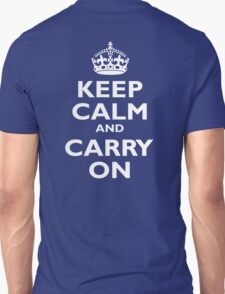 KEEP CALM, Keep Calm & Carry On, Be British! White on Royal Blue T-Shirt