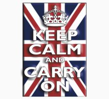 Keep Calm, & Carry On, Union Jack, Flag, Blighty, UK, GB, Be British! One Piece - Long Sleeve