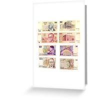Obsolete Israeli bank notes 50 and 100 Old Shekel  Greeting Card