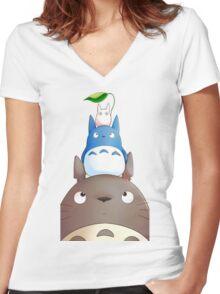 My Neighbor Totoro - 6 Women's Fitted V-Neck T-Shirt