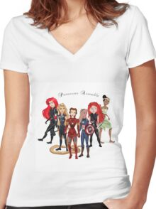 Princesses Assemble  Women's Fitted V-Neck T-Shirt