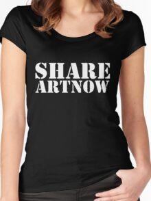 SHARE ART NOW dark background - m a longbottom - platform58 Women's Fitted Scoop T-Shirt