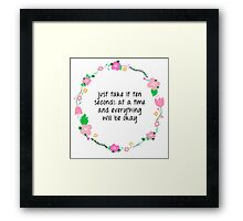 ten seconds at a time Framed Print