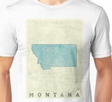 Montana State Map Blue Vintage Unisex T-Shirt