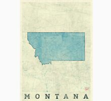 Montana State Map Blue Vintage Unisex T-Shirt