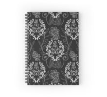 Piranha Damask - Black Spiral Notebook