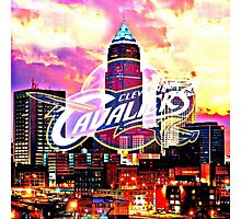 Cleveland Cavaliers Skyline and Logo Photographic Print