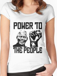 NELSON MANDELA-POWER TO THE POPLE Women's Fitted Scoop T-Shirt