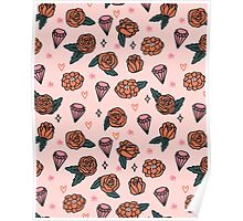 Flowers Diamonds Gems Hearts valentines// pastel pink red andrea lauren Poster