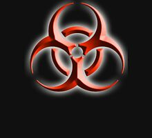 Danger, Warning, Biohazard symbol, Biological hazard; BIO HAZARD, red black embossed Unisex T-Shirt