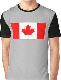 """Canadian Flag, National Flag of Canada, Canada, """"A Mari Usque Ad Mare""""  Pure & Simple, on Black,  Graphic T-Shirt"""