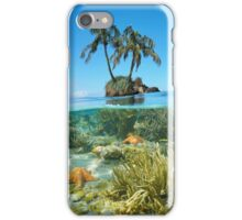 Split coconut trees islet and corals with starfish underwater iPhone Case/Skin