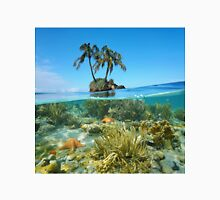 Split coconut trees islet and corals with starfish underwater Unisex T-Shirt