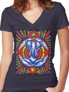 Ganesha as Goddess Women's Fitted V-Neck T-Shirt