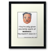 Robin Williams' madness Framed Print