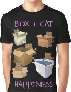 Happiness Cat with Box cute women t-shirt funny cats tee Graphic T-Shirt