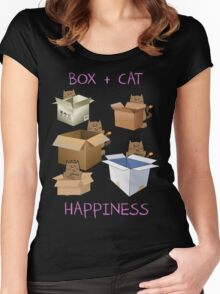 Happiness Cat with Box cute women t-shirt funny cats tee Women's Fitted Scoop T-Shirt