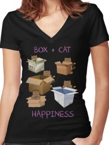 Happiness Cat with Box cute women t-shirt funny cats tee Women's Fitted V-Neck T-Shirt