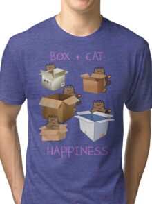 Happiness Cat with Box cute women t-shirt funny cats tee Tri-blend T-Shirt
