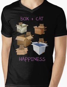 Happiness Cat with Box cute women t-shirt funny cats tee Mens V-Neck T-Shirt