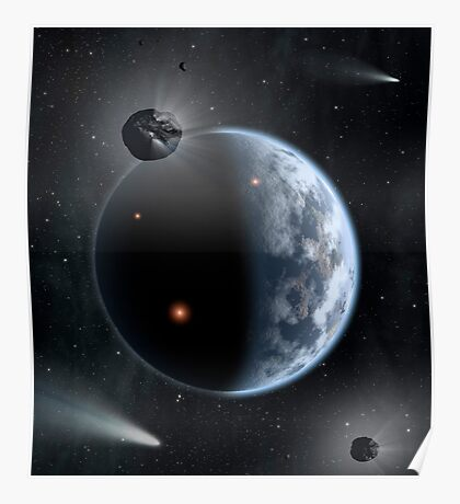 An Earth-like planet made up of silicate-based rocks with oceans coating its surface. Poster