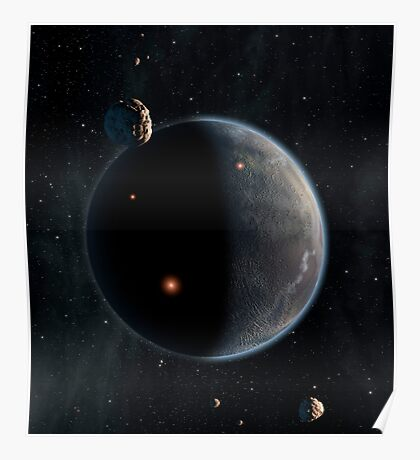 Artist's concept of an Earth-like planet rich in carbon and dry. Poster