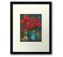 roses in blue jar Framed Print