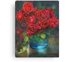 roses in blue jar Canvas Print