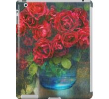 roses in blue jar iPad Case/Skin