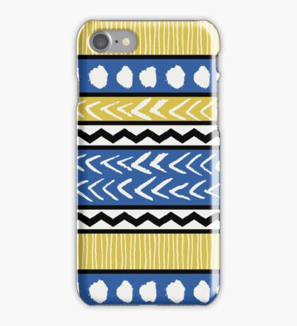 Blue, Yellow and Black Ethnic Pattern iPhone Case/Skin