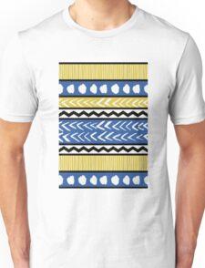 Blue, Yellow and Black Ethnic Pattern Unisex T-Shirt