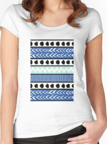 Blue, Mint and Black Ethnic Pattern Women's Fitted Scoop T-Shirt