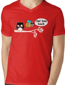 Owl bee back Mens V-Neck T-Shirt