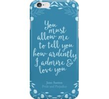 Pride and Prejudice Floral Love Quote iPhone Case/Skin