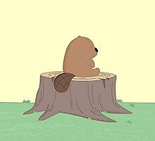 Beaver on the stump by vladmartin