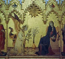 Annunciation Simone Martine ~ 1344 & Lippo ~ 1351 Uffizi Museum Florence Italy 19840713 0012 by Fred Mitchell