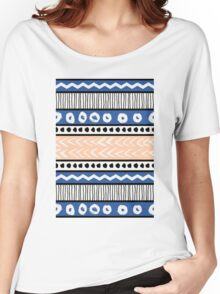 Blue, Pink and Black Ethnic Pattern Women's Relaxed Fit T-Shirt