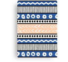 Blue, Pink and Black Ethnic Pattern Canvas Print