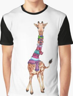Cold Outside - Cute Giraffe Illustration Graphic T-Shirt