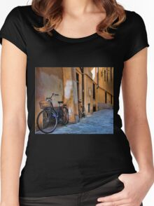 A Quiet Village Street - Lucca,  Italy Women's Fitted Scoop T-Shirt