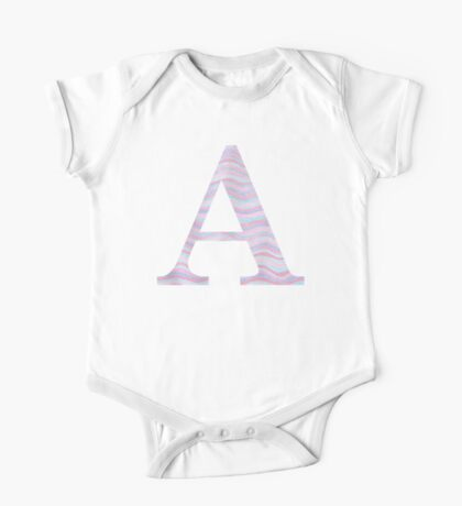 Initial A Rose Quartz And Serenity Pink Blue Wavy Lines One Piece - Short Sleeve