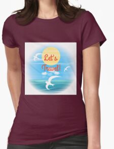 Travel theme Womens Fitted T-Shirt